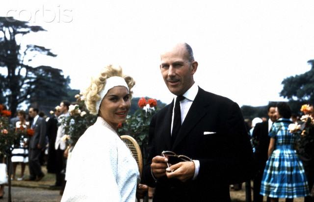 06 Nov 1960, London, England, UK --- Ted Tinling with Karol Fageros, (USA) The Hurlingham Club London circa 1960 --- Image by © Michael Cole/Corbis