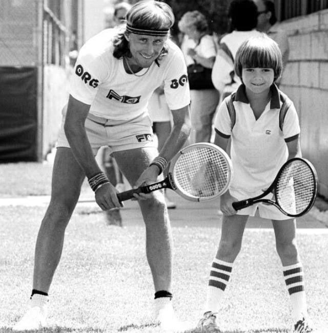 Бьорн Борг и будущий чемпион Андре Агасси, Лос-Анджелес, 1979 год.