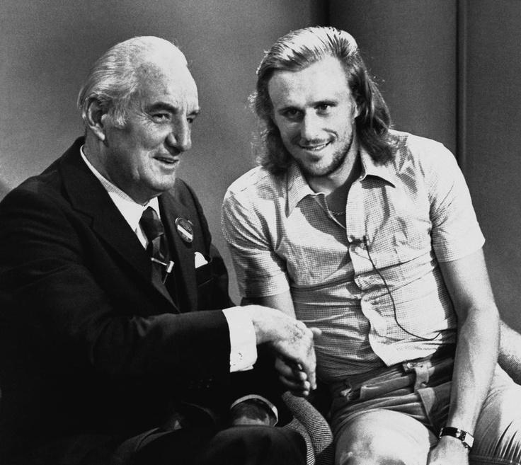 Два великих теннисиста рядом. 1978 год — Фред Перри берёт интервью у Бьорна Борга.