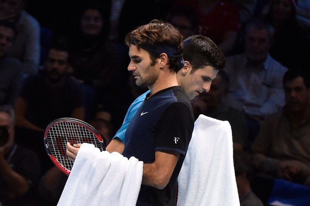 Фото: Getty / Федерер и Джокович во время Итогового турнира в Лондоне, 2015