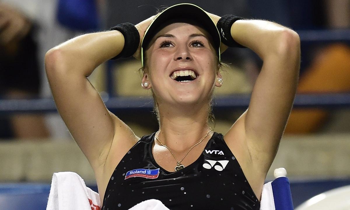 Белинда Бенчич выиграла у Серены Уильямс во время Rogers Cup, 2015 / Фото: Frank Gunn/AP