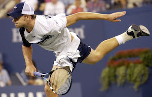 Энди Роддик во время матча с Иваном Любичичем на US Open в 2003 году / AP Photo/Kathy Willens