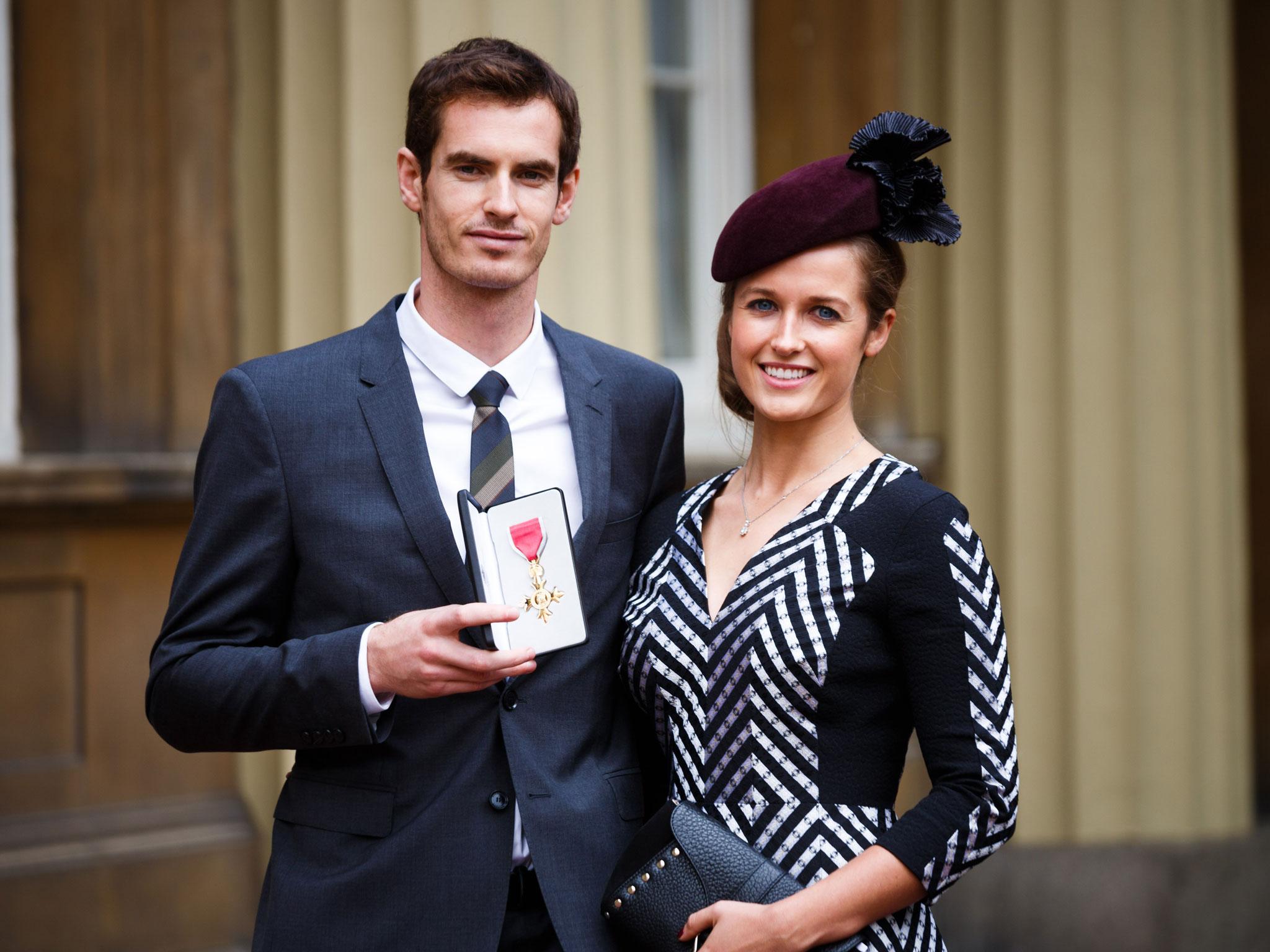 Энди Маррей с женой Ким Сирс после получения титула лорда