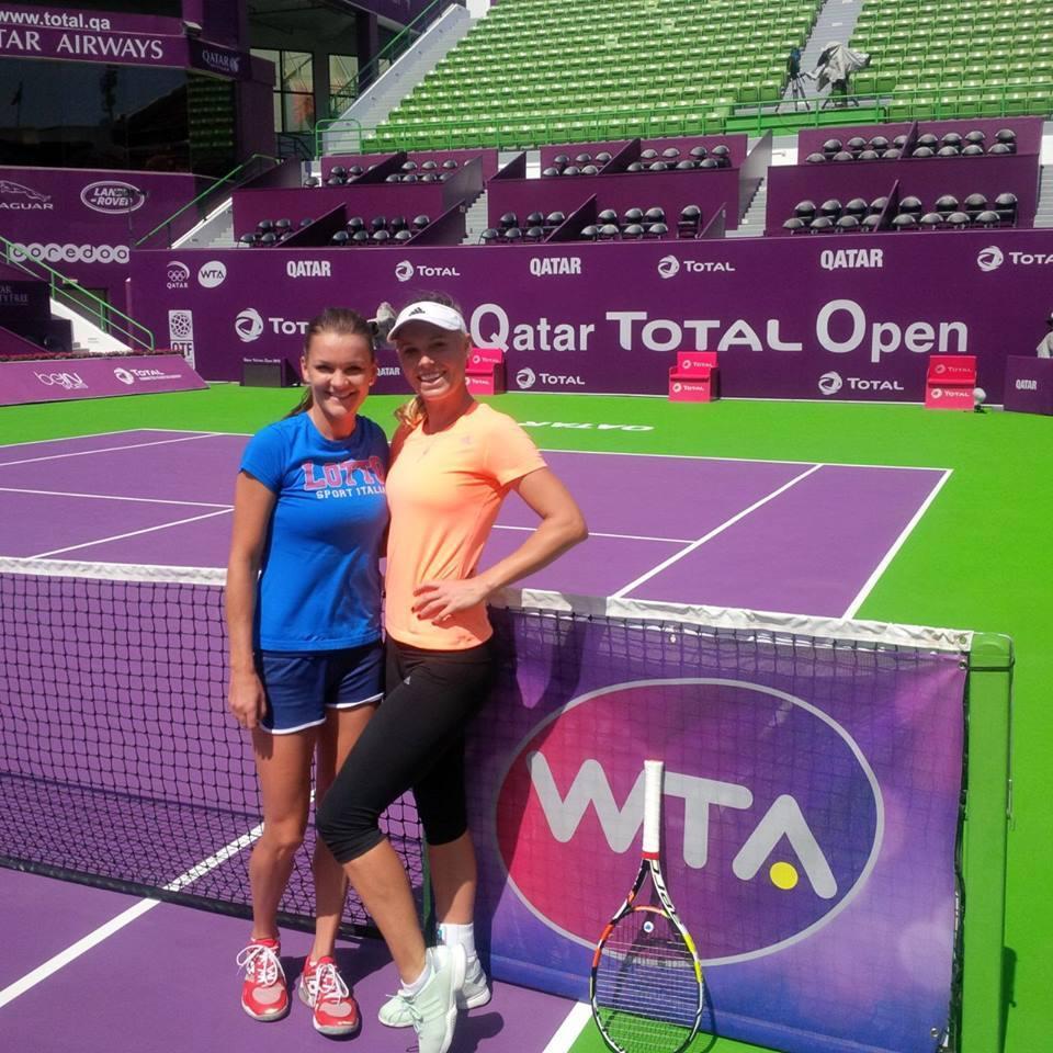 Агнешка Радваньска и Каролин Возняцки в Дохе