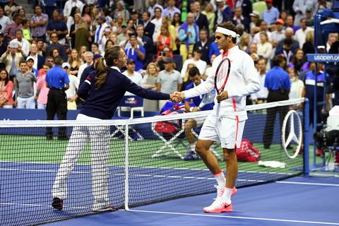 Роджер Федерер и Ева Асдераки во время US Open-2015. Фото: USTA