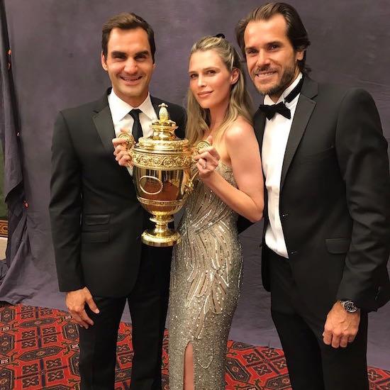 Роджер Федерер с друзьями Томми Хаасом и Сарой Фостер